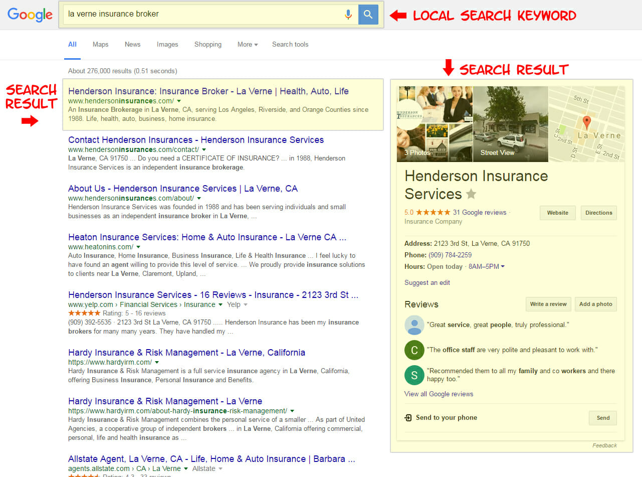 Henderson Insurance Search Engine Optimization